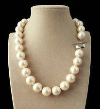 RARE HUGE 14mm Genuine White South Sea Shell Pearl Round Beads Necklace 18'' AA