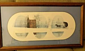 "RARE P Buckley Moss Signed/Numbered/Framed Print 32"" X 17"" 797 of 1,000.... 1979"