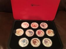 2012 AUSTRALIAN LUNAR YEAR OF THE DRAGON 1oz SILVER 10 different COIN Set COLOR
