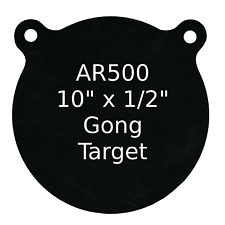 "One AR500 Steel Target Gong 1/2"" x 10"" Painted Black Shooting Practice Range"