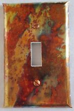 Handcrafted Burnt Copper Switch Plate Outlet Cover Single Flip Toggle (ST)