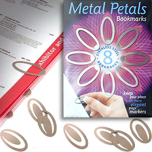 8 METAL CLIP ON BOOKMARK Reference Book Page Marker Office School Kid Stationery