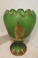 S38 antique art glass satin green vase greek motif gold design