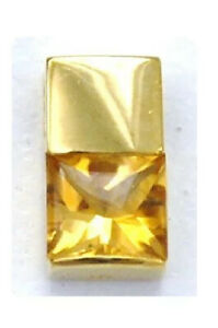 18K 750 Yellow Solid Gold Tank Square Topaz Citrine pendant Japan