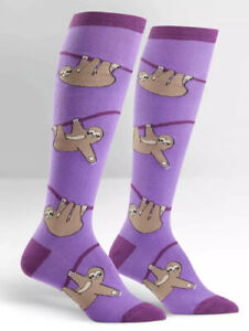 New Sock It To Me Knee High Socks - Purple With Sloths - Adult Size - Super Cute