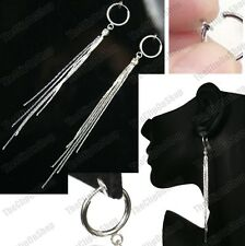"CLIP ON 4""long SLINKY EARRINGS crystal rhinestone LIQUID SILVER FASHION hoops"
