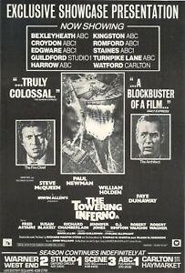 A4 Advert Towering Inferno 1974 Steve McQueen Paul Newman Faye Dunaway