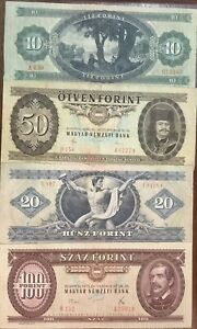 Set Of 4 Hungarian Notes 1970's