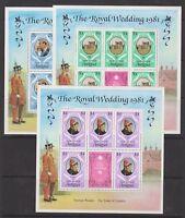 1981 Royal Wedding Charles & Diana MNH Stamp Sheets Large Sheetlets Antigua