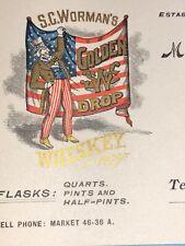 Worman Whiskey Uncle Sam Color Letterhead Patriotic Philadelphia Pa 1905 Flag