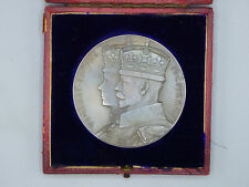1910-1935 King Georg V & Queen Mary Silver Jubilee Table Medal w/ Box Windsor