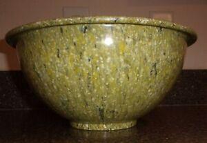 """Texas Ware #125 11"""" Mixing Bowl Avocado-Green Confetti Melamine Melmac USA EXCL!"""