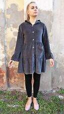 TINA WODSTRUP Long Sleeve Button Front Velour Sweatshirt Dress w/ Elf Hood sz M