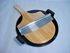 Pizza Set - Ceramic Pizza Stone - Wood Pizza Peel - Stainless Steel Pizza Cutter