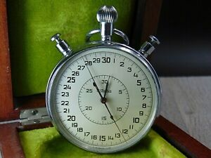 Slava stop watch Chronometer mechanical vintage Soviet Russian wooden box