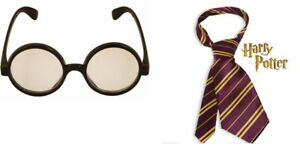 Harry Potter Tie Gryffindor & Clear Lens Glasses  World Book Day Purple & Gold
