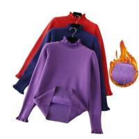 Women Thicken Plush Sweater Winter Warm Stretch Pullover Slim Long Sleeve Tops B
