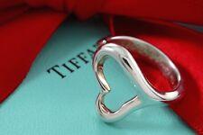 Tiffany & Co. Sterling Silver Elsa Peretti Open Heart Ring Size 6 w/ Box & Pouch