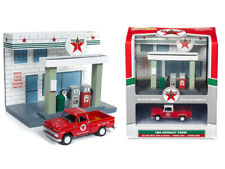 """1965 Chevrolet Pickup Truck and Resin """"Texaco"""" Service Station Diorama Set 1/64"""