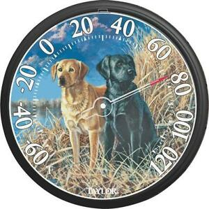 "NEW TAYLOR 6703N LARGE 13"" DIAL DOGS INDOOR OUTDOOR DIAL THERMOMETER 5489687"