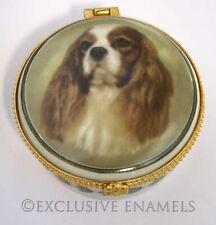 Alastor Enamels King Charles Spaniel Dog Round Hinged China Trinket Box