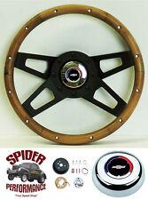 "80-87 Blazer Chevy pickup steering wheel RWB Bowtie 13 1/2"" Walnut 4 Spoke black"