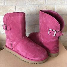 UGG Remora Buckle Crystal Bling Garnet Suede Fur Short Boots Size US 10 Womens