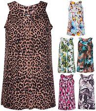 V Neck Animal Print Sleeveless Tops & Shirts for Women