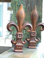 Set of TWO LARGE FLEUR DE LIS FINIALS Iron Cast  Wrought Garden Fence