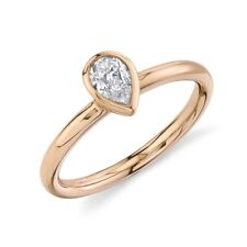 14K Rose Gold Pear Cut Diamond Solitaire Ring Bezel Set F VS2 Natural Womens