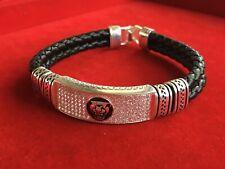Mens Bracelet Wristband Black Leather & Sterling Silver Bonded Fittings TIger FC