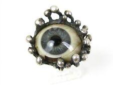 Vintage Sterling Silver Glass Eye Large Ladies Ring 5.6g