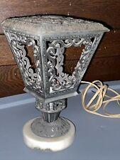 New listing Vintage scrolled metal and marble lamp base, Hollywood Regency?