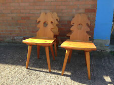Set of 4 pine Farmhouse / Gothic style kitchen chairs #864