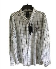 Green Bay Packers Men's New Antigua Plaid Button Down Long Sleeve Shirt Sz 2XL