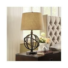 Metal Globe Table Lamp Orbit Desk Bedside Accent Light With Fabric Shade Bronze