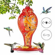 New listing Hummingbird Feeders for Outdoors, Hand Blown Glass Hummingbird Feeder