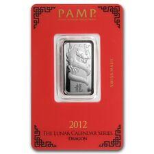 Lingot PAMP Dragon 10g argent pur 999 / PAMP 10g DRAGON 2012 Fine Silver 999 Bar