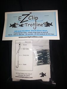 EZ Clip Trotline with Clips/Catfish Fishing Trot Line/Setline/Hooks/Line/Swivels