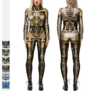 New Womens Halloween Robot Cosplay Costume Fancy Dress Jumpsuit Bodysuit Catsuit