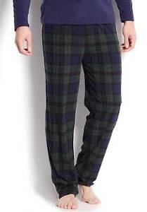 $32 Club Room Men's Fleece Pajama Blue Green Plaid Lounge Pants Sleepwear L