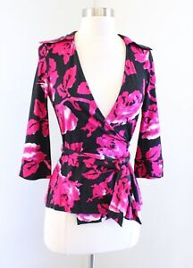 Diane Von Furstenberg Jill Black Pink Silk Jersey Floral Wrap Top Blouse Size 2