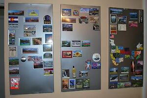 Magnetic Notice Board - Brushed Stainless Steel - 0.9mm thick  - A1 A2 A3 A4