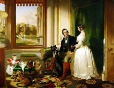 """oil painting handpainted on canvas """" Queen Victoria and Prince Albert""""@N4695"""