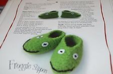 Knitting Pattern by Melissa Froggie Slippers Felted Baby