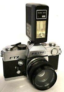 Vintage Film Camera PETRI FTX CHROME BODY 1:1.8/55 Petri Lens Included