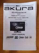 GENUINE ORIGINAL AKURA AELDVD2YR31502-VH DIGITAL LCD TV USER GUIDE MANUAL