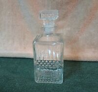 """Square Clear Glass 9"""" Decanter Whiskey Vintage"""