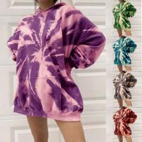 Women Tie Dye Hoodies Sweatshirt Hooded Jumper Tops Pullover Outwear UK
