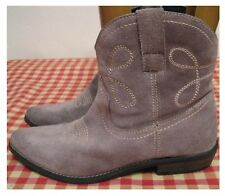 "MODA IN PELLE GREY SUEDE COWBOY ANKLE BOOTS WITH 1.5"" CUBAN HEEL SIZE 6 UK 39 EU"